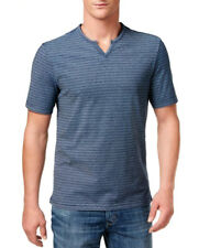 New Mens Weatherproof Vintage Split Neck Blue Striped T Shirt L