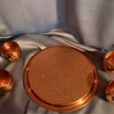Copper tray and 4 cups