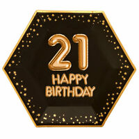 "8 x BLACK & GOLD 9"" PLATES 21 HAPPY BIRTHDAY GLITZ & GLAMOUR 21st PARTY HEXAGON"