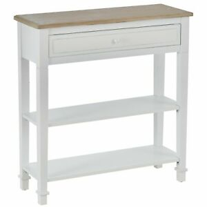 Rustic Style Console Table Compact Storage Drawers Display Shelves Hallway White