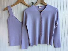 N. Peal Cashmere Silk Twin Set Italy Cardigan Tank  Size S SOFT