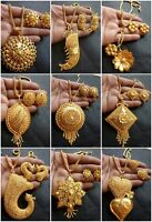 22K Gold plated Indian Variation Pendant Earrings Necklace Party Flower Set
