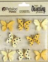 BUTTERFLY Mix YELLOW 8 Teastained Paper 20-25mm across Darjeeling Petaloo H