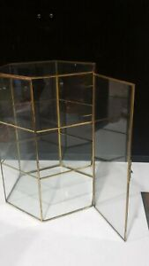"""Vintage Table Top DISPLAY CASE Brass & Glass CURIO CABINET 6 Sided Hexagon 11.5"""""""