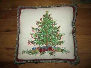 CHRISTMAS TREE custom French Country needlepoint pillow