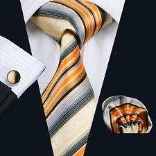 Nouveau design italien Orange/Gris à Rayures Cravate en soie mouchoir & boutons de manchette