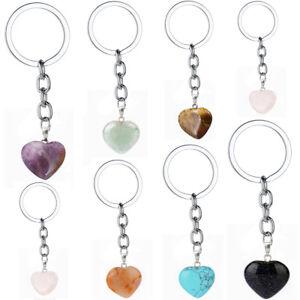 Charm Love Heart Natural Stone Keychain Gemstone Quartz Amethyst Keyring Jewelry