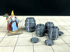4 Whiskey Barrels 3d Printed Tavern Series Unpainted 28mm Dungeon Dragons