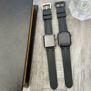 For Apple watch Series 7 6 SE 5 40/44mm Heavy Duty Black Rubber watch Strap Band