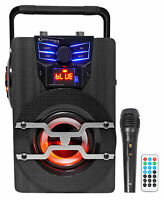 Technical Pro WASP420 Rechargeable Bluetooth Karaoke Machine System w/LED's Mic