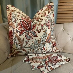Pottery Barn Pair of Euro Shams Ivory Red Blue Floral & Butterfly 25x25