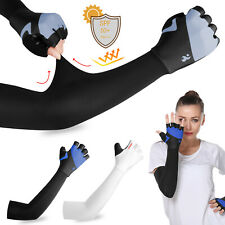 Cooling Sun Protection Arm Sleeves Cover Gloves Cycling Golf Sport For Men Women