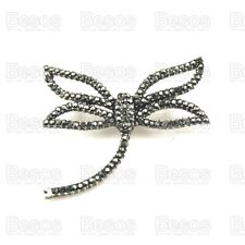 UK GIFT! EXQUISITE retro art deco MARCASITE BROOCH pin VINTAGE SILVER dragonfly