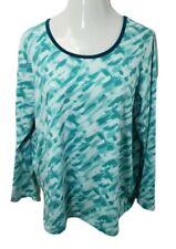 Fullbeauty Sport Womens Active Top Plus Sz 18 20 Tee Shirt L/S Athleisure Blue