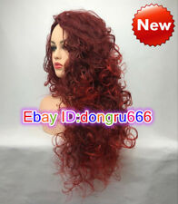 Fashion Women Long Curly Wave Wine Red Hair Wig Cosplay Hair Party Wig Synthetic