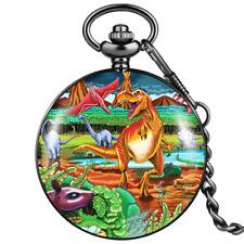 Dinosaur Dial Pendant Necklace Modern Mens Quartz Pocket Watch Chain Jurassic