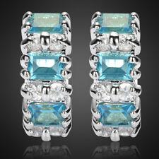 Xmas Gift Jewellery Aquamarine Fine Clear Topaz White Gold Plated Hoop Earrings