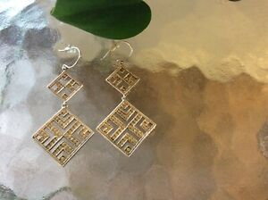 Anna Beck Sterling Silver Dangle Earrings Signed