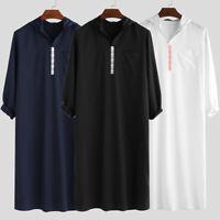 Men Middle East Hooded Thobe Jubba Dishdash Arab Islamic Muslim Kaftan Tunic Top