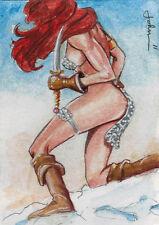 Breygent Red Sonja 2012 Sketch Card by John Haun Ver. 2