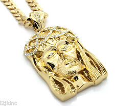 "Mens 14k Gold Plated 30"" Cuban Chain Crowned Jesus Large Pendant Necklace"