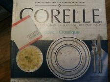 CORELLE CLASSIC CAFE BLUE  16 PCS DINNERWARE NEW IN DAMAGE BOX