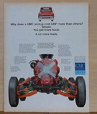 1964 magazine ad for GMC Pickup trucks - photos of engine & chassis, A Lot More
