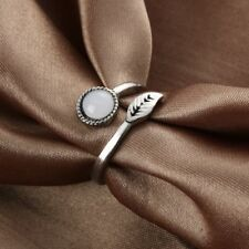 Fashion Women Opening Silver Plated Gemstone Feather Ring Adjustable Jewelry Hot
