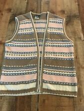 Southern Lady Brown Pink Blue sweater vest size small