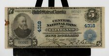 "$5.00-1902 Series Bank Note ""Central National Bank Cleveland"" Fairly Clean NICE"