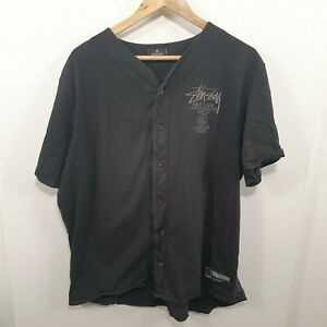 Stussy Black Baseball Jacket Tshirt Sz XXL fit more like a XL