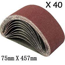 40x Sanding Belts 75X457 mm Mixed Grade 40 60 80 120 Grit Bosch Makita Sander UK