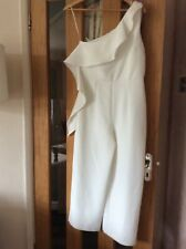 River Island White one shoulder jumpsuit size 10 brand new