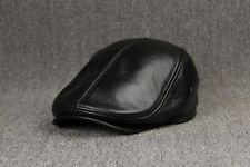 Genuine Cowhide Leather Hats Men's Leather Cap Spring Autumn Winter Visor Caps