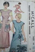 Vtg Sewing Pattern McCall #1452 Size Small 14-16 Bib Apron w Palm Tree Transfers