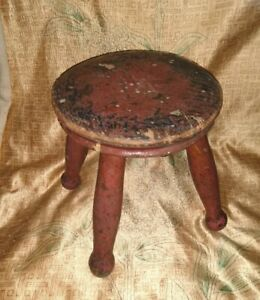 Antique wooden milking stool 21cm X 20cm