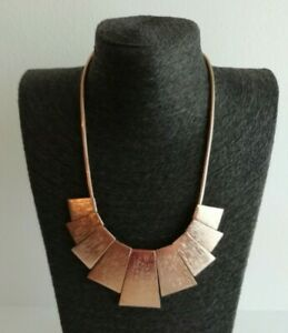 Rose Gold Tone Brutalist Style STATEMENT Necklace Costume Chunky Textured Arty