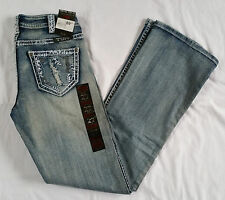 "NWT Cowgirl Tuff Denim Jeans Size 27""x33"" Embroidered & Blingy"