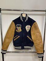 Polo Ralph Lauren Leather-Sleeve Baseball Jacket USA Sport $898