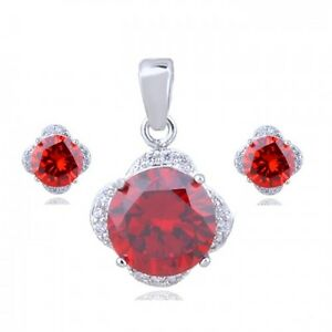 18K WHITE GOLD PLATED & CZ & AUSTRIAN CRYSTAL RUBY RED NECKLACE & EARRING SET