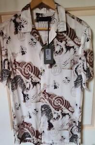 BNWT Mens All Saints Akita Short Sleeve Shirt Size S in Ecru White £85