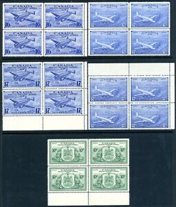 CANADA 1942/46 SPECIAL DELIVERY-SELN OF 5 BLOCKS OF 4 (SG S13/7;#CE1/4 +E11) UMM