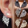 Vintage Gothic Women's Angel Wings Rhinestone Crystal Ear Stud Earrings Jewelry