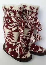 MUKLUKS Womens Large 6.5-7.5 Tall Maroon White Sweater Knit Boots Fuzzy Grommet