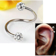 Crystal Stainless Steel Twist Ear Helix Cartilage Earring Stud Body Piercing Top