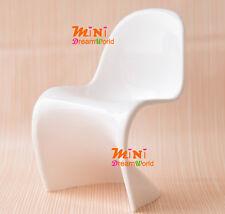 "1/6 Dollhouse Miniature Furniture Plastic""S"" Shape White Chair For Barbie dolls"