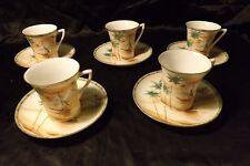 10 Pc Set of Hand Painted Porcelain Demitasse Tea Cups Japan Harbor Scene Coffee