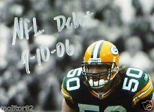 GREEN BAY PACKERS AJ HAWK 50 Signed NFL DEBUT 8x10 v Bears PHOTO AJ COA HOLOGRAM