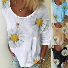 Women Summer Short Sleeve Crew Neck T Shirt Casual Floral Printing Blouse Tops