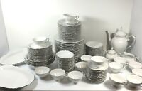 BAVARIA Western Germany Dinnerware China Set White Embossed Shadow Floral 120 pc